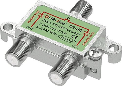 SAT & BK-Verteiler HQ - 2-fach Splitter - voll geschirmt - unicable & HD tauglich [DUR-line D3-HQ - Verteiler für Satelliten-Anlagen(DVB-S2) - BK - UKW Radio - DC-Durchlass - TV Antennen Fernseh Verteiler]