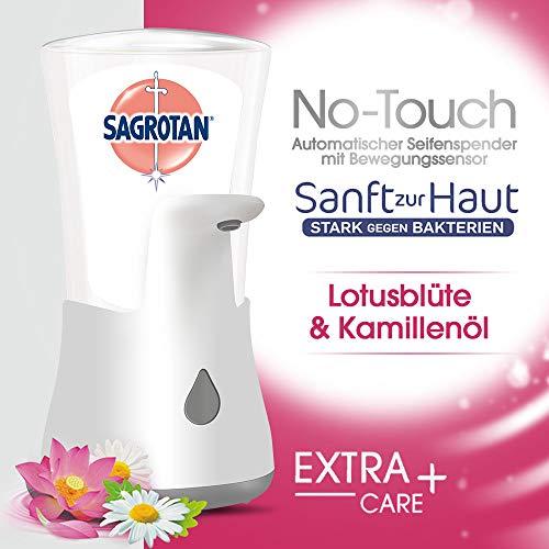 Sagrotan No-Touch Automatischer Seifenspender Weiß inklusive Nachfüller Lotusblüte + Kamillenöl, Flüssige Handseife, 250 ml