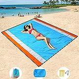 HISAYSY 210 x 200 cm Stranddecke, Sandfreie Picknickdecke Campingdecke Strandtuch, Wasserdichte sandabweisende Camingmatte, schnell troknend, Ultraleicht und kompakt Campingdecke für Camping, Wandern