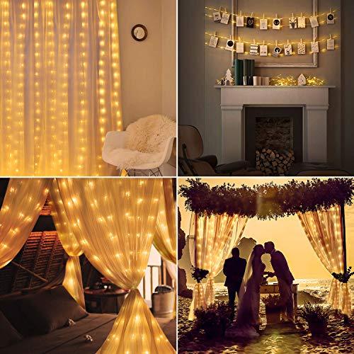 OUSFOT LED Lichtervorhang 3x3m Lichterkettenvorhang 300 LEDs mit 4 Musiksteuerung Modi & 8 Lichtmodi Warmweiß Innen für Deko Weihnachten Party Hochzeit