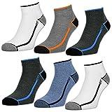 sockenkauf24 Herren Sport Sneaker Socken mit verstärkter Frotteesohle 6 oder 12 Paar - 16215 (43-46, 6 Paar | Farbmix)