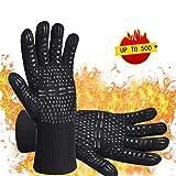 iToncs Grillhandschuhe Grill Ofenhandschuhe, Hitzefeste BBQ Handschuhe Topfhandschuhe 500°C/923°F Anti-Rutsch KochenHandschuhe Silikon Küchenhandschuhe für BBQ, Kochen, Backen, Schweißen (1 Paar)