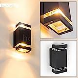 Außen-Wandleuchte Edevik 2-flammig - Alu Wandlampe in Schwarz - stylische Fassadenlampe mit Up and Down Effekt - Wandlampe für die Terrasse - Veranda - Hof-Lampe