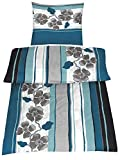 4-tlg.Sommer-, hauchdünne, kühlende Microfaser Bettwäsche petrol/grau 2x 135x200 Bettbezug + 2x 80x80 Kissenbezug mit Reißverschluss