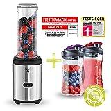 WMF Kult Mix & Go Testsieger Mini Standmixer Sparset, 1 x 600ml und 2 x 300ml Trinkflasche (Smoothie Maker Cromargan, BPA-frei, mixer, shaker, 300 Watt, karaffe) Edelstahl/ matt