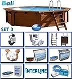 Interline 50700213 Bali Auf-und Erdeinbau POOLSET 3 Holzwand Rund Pool 4,40m x 1,36m, Filteranlage mit Filterbällen 6m³/h (besser als reine Sandfilteranlage)