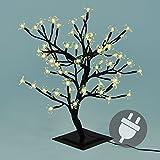 64 LED Baum mit Blüten Blütenbaum Lichterbaum warm weiß 45 cm hoch Trafo Weihnachtsbeleuchtung Außenbeleuchtung IP44 Xmas Gartendeko