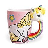 el & groove Einhorn-Tasse groß bunt in 3D | Kaffee-Tasse 350ml (400ml randvoll) | Tee-Tasse Einhorn aus Porzellan in Rosa, Weiß und Regenbogenfarben | Comic | Unicorn | Sterne | Geschenkidee Ostern