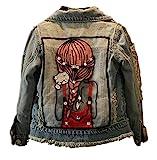 CYSTYLE Frühjahr Herbst Kinder Mädchen Stickerei Langarm Denim Jeansjacke Jacket Übergangsjacke mit Mädchen Drucken (150/Körpergröße 135-140cm)