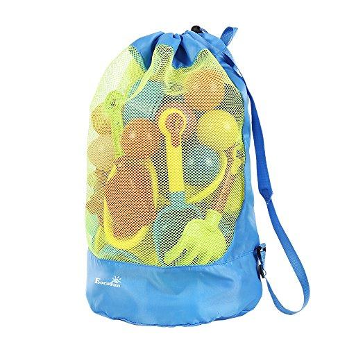 Strandspielzeug Tasche Strandtasche Mesh Beach Bag EocuSun für Sandspielzeug Wasserspielzeug Rücksack Beutel für kleinkind Kinder Jungen Mädchen Badetasche XXL groß für Familie Urlaub (Blau)