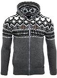 Reslad Herren Grobstrick Norweger Pullover Winter Strickjacke Kapuzenpullover RS-3104 (2XL, Anthrazit)