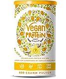 Vegan Protein (Vanille) - Reis-, Hanf-, Soja-, Erbsen-, Chia-, Sonnenblumen- und Kürbiskernprotein + Kokosmilch, Superfoods und Verdauungsenzymen - 600 Gramm Pulver mit natürlichem Vanillegeschmack