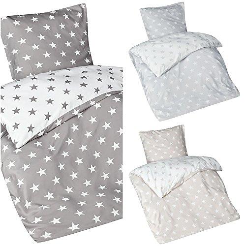 Aminata – Bettwäsche 135x200 cm Mikrofaser + Reißverschluss Sterne Grau Anthrazit Weiß Bettbezug Sternchen Stars Wendebettwäsche 2-teiliges Bettwäscheset Bezug Ganzjahr Normalgröße Jungen Mädchen