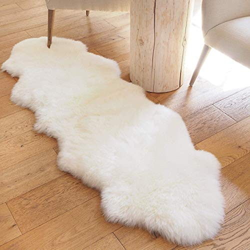 Faux Lammfell Schaffell Teppich Lammfellimitat Teppich Longhair Fell Optik Nachahmung Wolle Bettvorleger Sofa Matte (Weiß, 60x160cm)