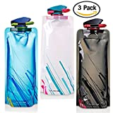 700ML Faltbare Wasserflaschen Set von 3 mit CE, ROHS Zertifikate, FLYING Flexible Zusammenklappbare flexible wiederverwendbare Wasserflasche zum Wandern, Abenteuer, Reisen.