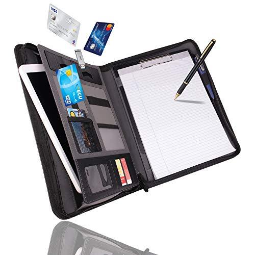 Vebon Dokumentenmappe A4'London' aus Veganem Leder mit Reißverschluss | Schreibmappe + Laptoptasche | 2in1 | Schwarz | Smartphone Halterung + Klemmbrett