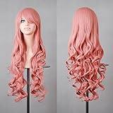 MapofBeauty 32' Langes Haar Spirale lockige Cosplay Kostüm Perücke (rosa)