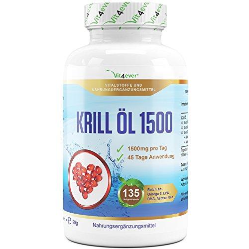 Krill Öl 1500 - 135 Softgel Kapseln - Hochdosiert mit 1500 mg pro Tag - Reich an EPA, DHA, Astaxanthin, Phospholipide und Omega 3 Fettsäuren, Antarktis Krillöl in Premium Qualität - Vit4ever