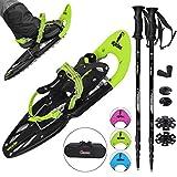 ALPIDEX Schneeschuhe für Schuhgröße 35-45, bis 100 kg, mit Double-Traction Bindung und inklusive Tragetasche - wahlweise mit oder ohne Stöcke erhältlich, Farbe:Lime mit Stöcken