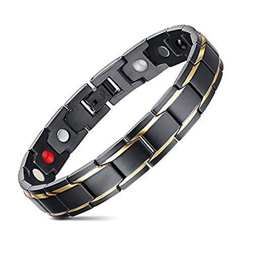 Jeracol Herren Titanium Magnetisches Armband Magnete Therapie Elemente Arthritis Link Armbänder,Gold Schwarz