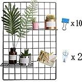 Eisen Gitter der Foto Wand einfache Dekoration Plaid kreative Memo an der Wand Hängen in der Familie, Küche, Büro und so weiter(Schwarz, 65 * 45cm)/DIY(Upgrade product)