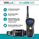 VOSS.PET 'SensiDOG 600' Hunde-Ferntrainer, Erziehungshalsband, Vibrationstrainer 16 Vibrationsstufen und Tonsignal, Fernbedienung, 600m Reichweite, Aufladbarer Akku