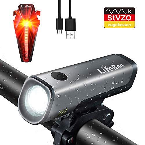 LifeBee LED Fahrradlicht Set, StVZO Zugelassen USB Wiederaufladbare Fahrradbeleuchtung fahrradlichter Set, IPX5 Wasserdicht Frontlicht Rücklicht Fahrradlampe Set, 300Lumen Licht für Fahrrad