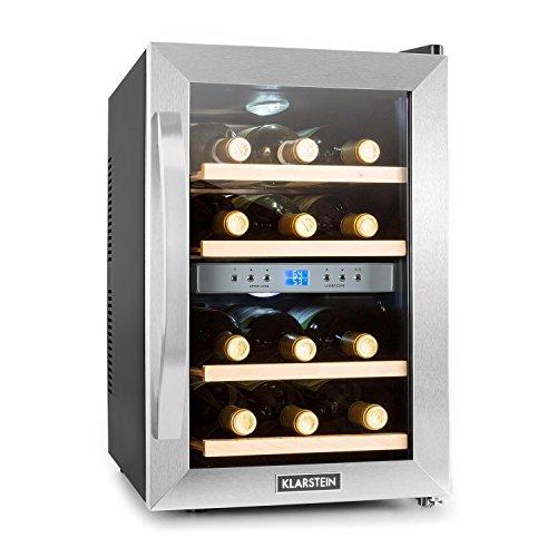 Klarstein Reserva Getränkekühlschrank Weinkühlschrank 34 L 12 Flaschen 4 Regaleinschübe leise 2 Zonen 7-18°C Temperaturbereich LED-Innenbeleuchtung schwarz-silber