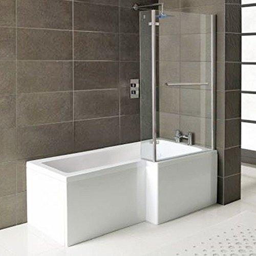 Badewanne SYNA Rechts + Duschkabine + Wannenschürze + Ablaufgarnitur + Wannenfüße