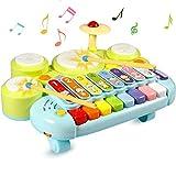 Ohuhu Xylophon Tisch Musik Spielzeug Multifunktionsspielzeug Kids Drum Set, Entdecken und Spielen Klaviertastatur, Xylophon Elektronische Lernspielzeug für Baby, Kleinkind, Kinder,Geburtstagsgeschenke
