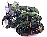 4x Ratschenspanngurt Spanngurt mit Ratsche 6 Meter EN Norm Farbe: Bundeswehr oliv , iapyx