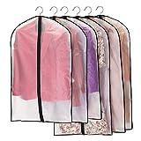 Niviy Kleidersäcke 6 Stück Transparent Kleidersack, Atmungsaktiver Stoff, Hochwertiger Anzugsack