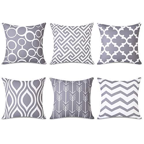 Topfinel 6er Set Kissenbezüge 40x40 cm Qualitäts Kissenhüllen in Segeltuch mit Geometrischen Mustern für Sofa Auto Terrasse Zierkissenbezüge Serie Grau und Weiß