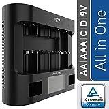 HEITECH Universal Ladegerät Ultimate 8+ für AAA, AA, C, D, 9V NiMH Akku Batterie & USB - Batterieladegerät 8-Fach zum Laden & Entladen von Akkus & wiederaufladbare Batterien - Schnellladegerät