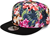 styleBREAKER Snapback Cap mit Blumen Print, Baseball Cap, verstellbar, Unisex 04023047, Farbe:Schwarz