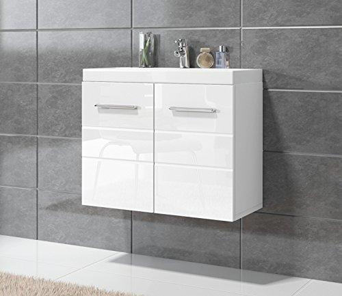Badezimmer Barmöbel Toledo 01 60 x 35 cm Hochglanz Weiß - Unterschrank Schrank Waschbecken Waschtisch