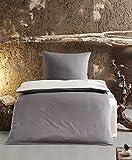 MOON Renforcé UNI Wende Bettwäsche 100% Baumwolle mit Reißverschluss 135x200 / 80x80 (ANTHRAZIT/STONE)
