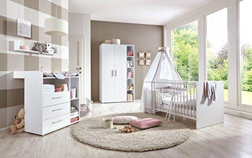 Babyzimmer / Babymöbel komplett Set KIM 1 in Weiß, Komplettset mit Kleiderschrank, Babybett mit Lattenrost und Wickelkommode mit Wickelaufsatz und Wandregal, Made in Germany