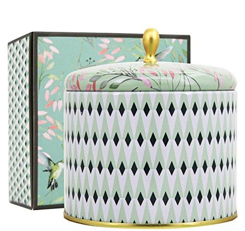 Duftkerze in Dose 400g Weißer Tee Duft 2 Dochte Groß Aromatherapie Natürliches Wachs Kerze 75Std