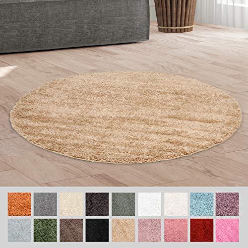 Taracarpet Hochflor Langflor Shaggy Teppich geeignet für Wohnzimmer Kinderzimmer und Schlafzimmer flauschig und pflegeleicht beige 120x120 cm rund