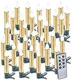 Lunartec Christbaumbeleuchtung: 30er-Set LED-Weihnachtsbaumkerzen mit Fernbedienung und Timer, Gold (Kerzen Weihnachtsbaum)