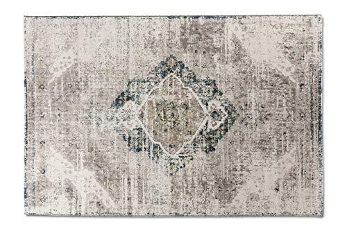 LIFA LIVING Aqua Vintage Teppiche | im schönen Vintage Muster | für Wohn- und Schlafzimmer | Farb und Größen Variationen | (Beige/Dunkelblau, 160x230)