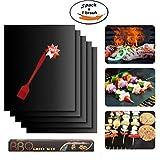 NIFOGO BBQ Grillmatten, Grillmatte, Antihaft Grill-und Backmatte, Pflegeleicht und Wiederverwendbar, Perfekt für Fleisch, Fisch und Gemüse, 3er Set und 1 Grillbürste