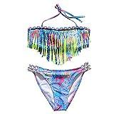 IPBEN Kleinkinder Baby Mädchen Quaste Badekleidung Schwimmanzug Bikini Sets, Gr.-12-14 Jahre/ Etikettengröße- 164, Gelb