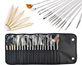 JZK 20 x Professional Nail Art Pen Gel Pinsel Nailart Malerei Stift Künstlerpinsel French Nagel Kunst Bürste Werkzeug Kit, Dotting Spot Swirl Spitzen Tool set, für Nageldesign Lackieren Punktemuster usw., mit Tasche