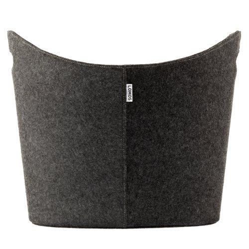 LOMOS Großer Filzkorb in grau für die Aufbewahrung von Feuerholz, Zeitschriften oder Spielzeug