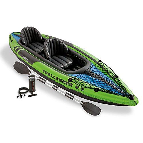 Intex Schlauchboot Aufblasbares Kajak Boot Challenger K2 Phthalates Free Inkl. 84 Paddel und Luftpumpe, 351 X 76 X 38 cm, 68306NP