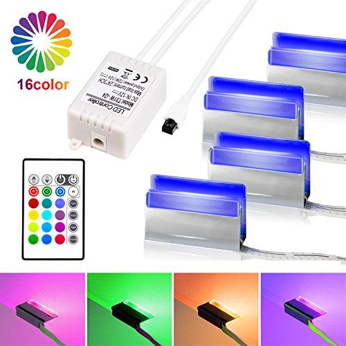 LED Glasbodenbeleuchtung, LED Vitrinenbeleuchtung 4er Set Glaskantenbeleuchtung LED Clip RGB LED Farbwechsel Schrankbeleuchtung, LED Möbelbeleuchtung Vitrine Beleuchtung