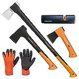 FISKARS Set Spaltaxt X27 - XXL + Universalaxt X10 - S + Freizeitbeil X5 - XXS + Xsharp Axt- und Messerschärfer + Handschuhe