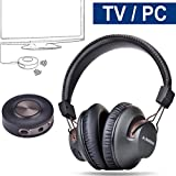Avantree Funkkopfhörer für Fernseher mit Bluetooth Transmitter 3.5mm & RCA SET, Plug & Play, Keine Verzögerungen mehr, HOHE REICHWEITE, 40 Stunden Akku, für TV / PC / Games - HT3189 [2 Jahre Garantie]